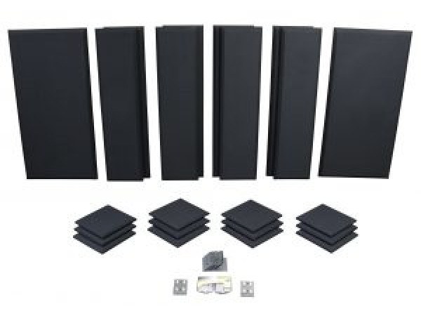 London 12 in Black Acoustic Wall Panel Room Kit
