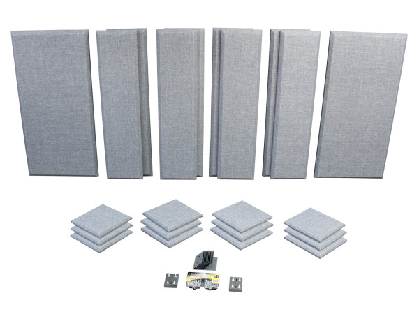London 12 in Grey Acoustic Wall Panel Room Kit