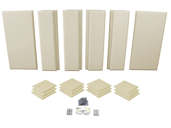 London 12 in Beige Acoustic Wall Panel Room Kit