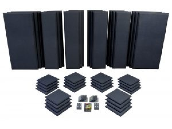 London 16 in Black Acoustic Wall Panel Room Kit