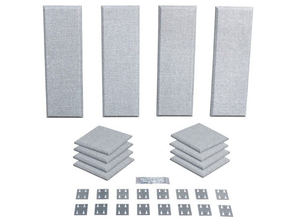 London 8 in Grey Acoustic Wall Panel Room Kit