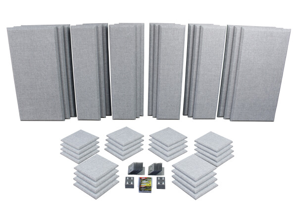 London 16 in Grey Acoustic Wall Panel Room Kit