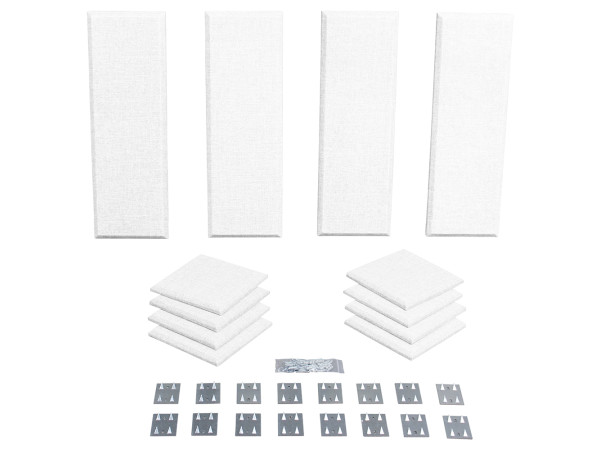 London 8 in White Acoustic Wall Panel Room Kit